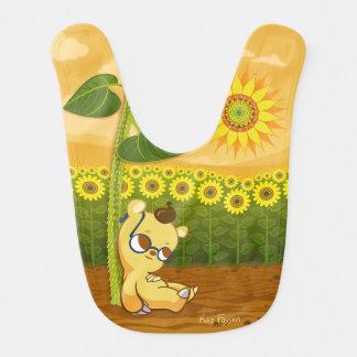 Cute Cartoon Bear with Sunflowers Bib
