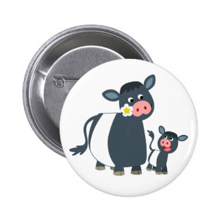 Cute Cartoon Belted Galloway Cow and Calf 6 Cm Round Badge