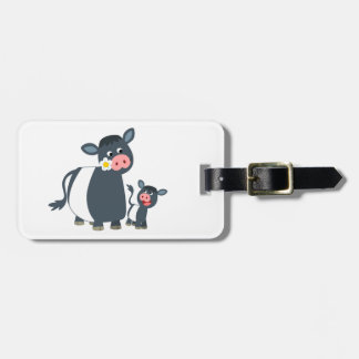 Cute Cartoon Belted Galloway Cow and Calf Luggage Tag