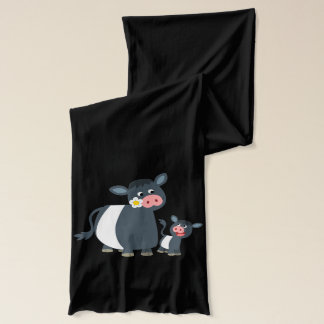 Cute Cartoon Belted Galloway Cow and Calf Scarf