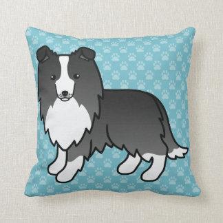 Cute Cartoon Bi-Black Shetland Sheepdog On Blue Cushion