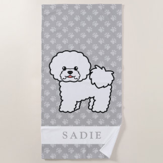 Cute Cartoon Bichon Frise Dog & Custom Name Gray Beach Towel