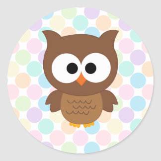 Cute Cartoon Big Eyed Brown Owl Classic Round Sticker
