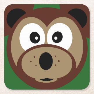 Cute Cartoon Birthday Bear Square Paper Coaster