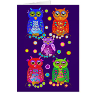 Cute Cartoon Birthday card with Owls