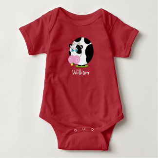 Cute cartoon black and white cow eating a flower, baby bodysuit