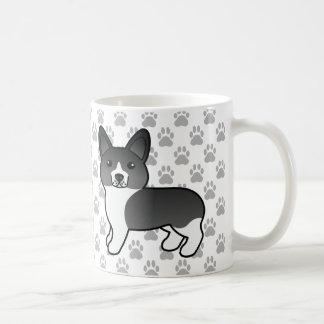 Cute Cartoon Black And White Welsh Corgi Pembroke Coffee Mug
