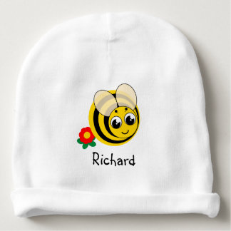 Cute cartoon black and yellow striped bumblebee, baby beanie