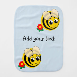Cute cartoon black and yellow striped bumblebee, burp cloth