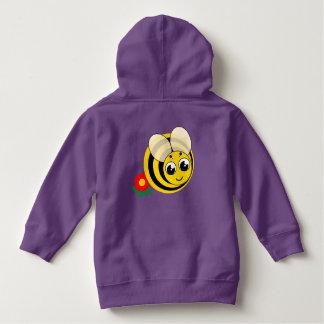 Cute cartoon black and yellow striped bumblebee, hoodie