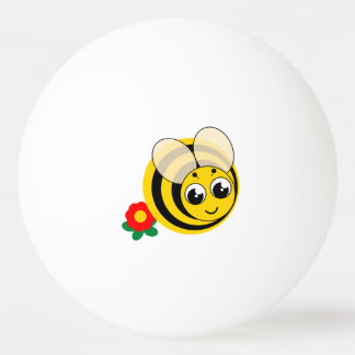 Cute cartoon black and yellow striped bumblebee, ping pong ball