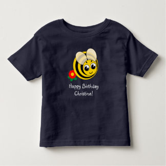 Cute cartoon black and yellow striped bumblebee, toddler T-Shirt