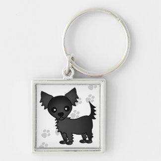 Cute Cartoon Black Long-haired Chihuahua Key Ring