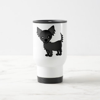 Cute Cartoon Black Long-haired Chihuahua Travel Mug
