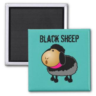 Cute Cartoon Black Sheep Drawing Square Magnet