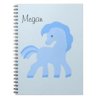 Cute Cartoon Blue Horse Notebooks
