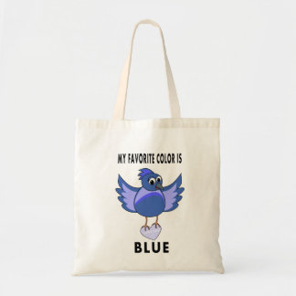 cute cartoon bluebird carrying heart tote bag