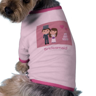 Cute Cartoon Bride & Groom Bridesmaid Dog Sweater Ringer Dog Shirt