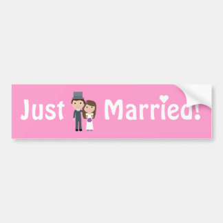 Cute Cartoon Bride & Groom Pink Just Married Bumper Sticker
