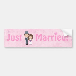 Cute Cartoon Bride Groom Pink Just Married Bumper Stickers