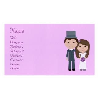 Cute Cartoon Bride & Groom Wedding Planner Business Card
