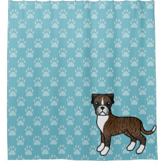 Cute Cartoon Brindle Boxer Dog On Blue Shower Curtain