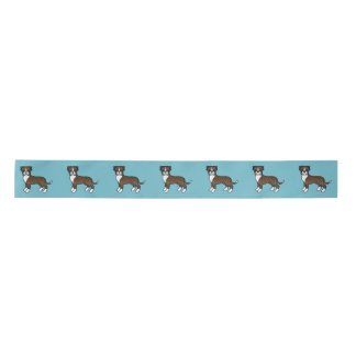 Cute Cartoon Brindle Boxer Dogs Satin Ribbon