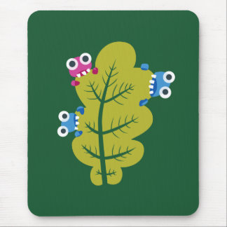 Cute Cartoon Bugs Eat Green Leaf Kids Mouse Pad