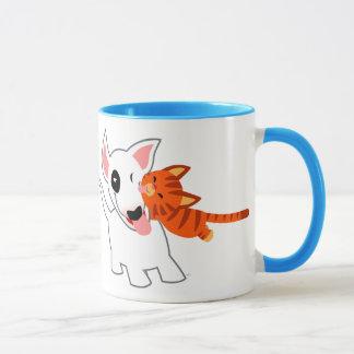 Cute Cartoon Bull Terrier and Kitten Mug