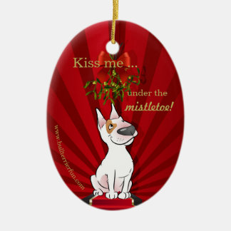 Cute Cartoon Bull Terrier Christmas Ornament