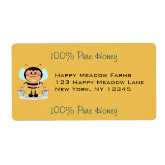 Cute Cartoon Bumble Bee Carrying Buckets of Honey Shipping Label