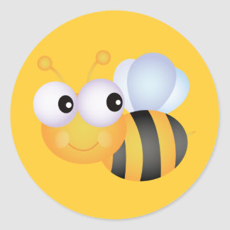 CUTE CARTOON BUMBLEBEE BEE HONEYBEE smiling orange Classic Round Sticker