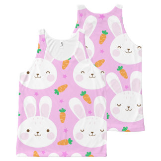 Cute cartoon bunnies and carrots on pink pattern All-Over print tank top