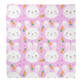 Cute cartoon bunnies and carrots on pink pattern bandana