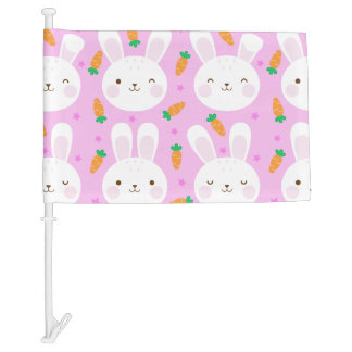 Cute cartoon bunnies and carrots on pink pattern car flag