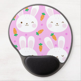 Cute cartoon bunnies and carrots on pink pattern gel mouse pad