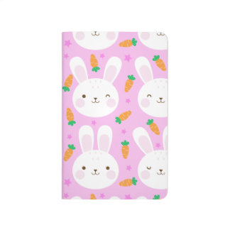 Cute cartoon bunnies and carrots on pink pattern journal