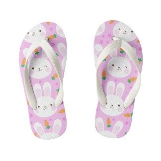 Cute cartoon bunnies and carrots on pink pattern kid's thongs