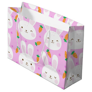 Cute cartoon bunnies and carrots on pink pattern large gift bag