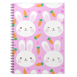 Cute cartoon bunnies and carrots on pink pattern notebooks