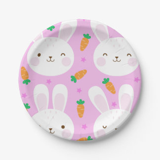 Cute cartoon bunnies and carrots on pink pattern paper plate