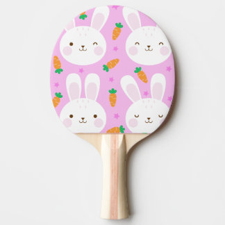 Cute cartoon bunnies and carrots on pink pattern ping pong paddle