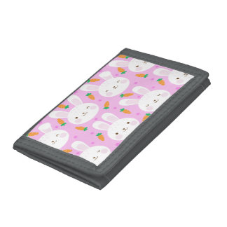 Cute cartoon bunnies and carrots on pink pattern tri-fold wallet