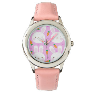 Cute cartoon bunnies and carrots on pink pattern watch