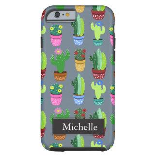 Cute Cartoon Cactus Pattern Custom Name Tough iPhone 6 Case