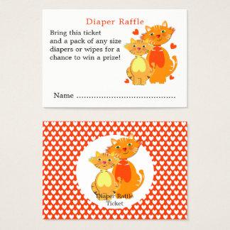 Cute Cartoon Cat And Kitten Baby Diaper Raffle Business Card