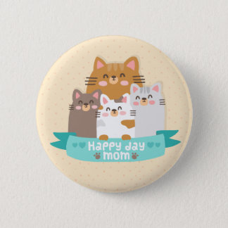 Cute cartoon cat family happy mother's day 6 cm round badge