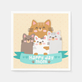 Cute cartoon cat family happy mother's day paper napkins