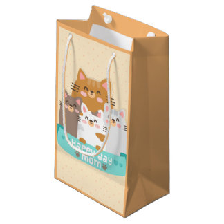 Cute cartoon cat family happy mother's day small gift bag