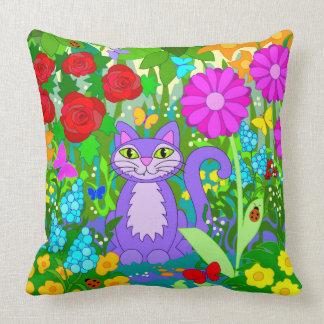Cute Cartoon Cat Fantasy Garden Flowers Ladybugs Cushion